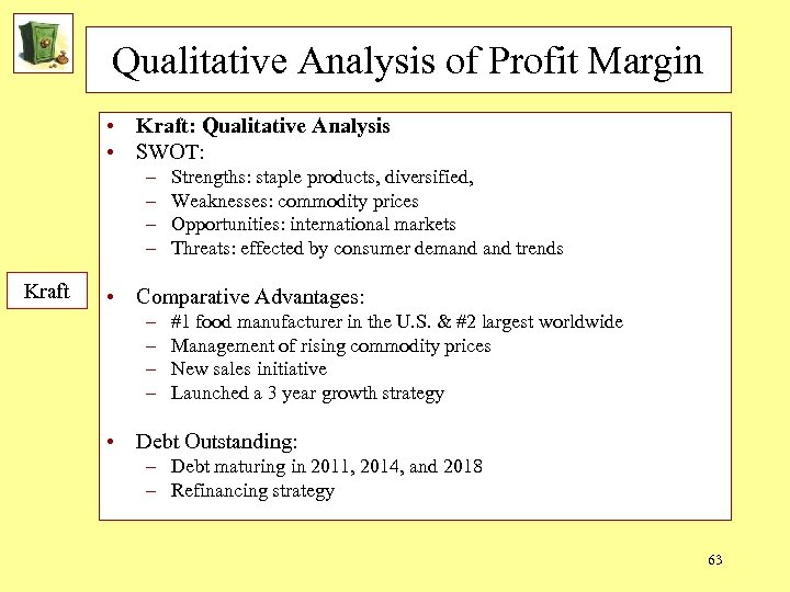 Qualitative Analysis of Profit Margin • Kraft: Qualitative Analysis • SWOT: – – Kraft