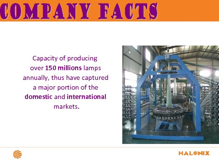 Capacity of producing over 150 millions lamps annually, thus have captured a major portion