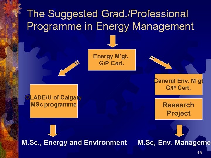 The Suggested Grad. /Professional Programme in Energy Management Energy M'gt. G/P Cert. General Env.