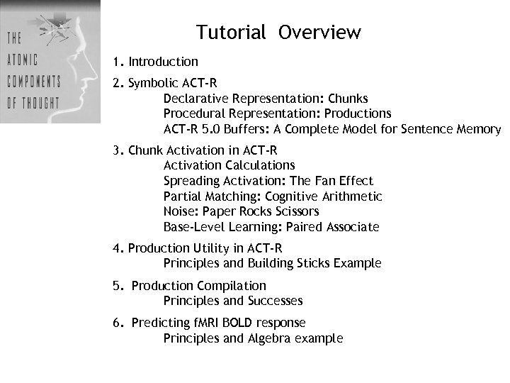 Tutorial Overview 1. Introduction 2. Symbolic ACT-R Declarative Representation: Chunks Procedural Representation: Productions ACT-R
