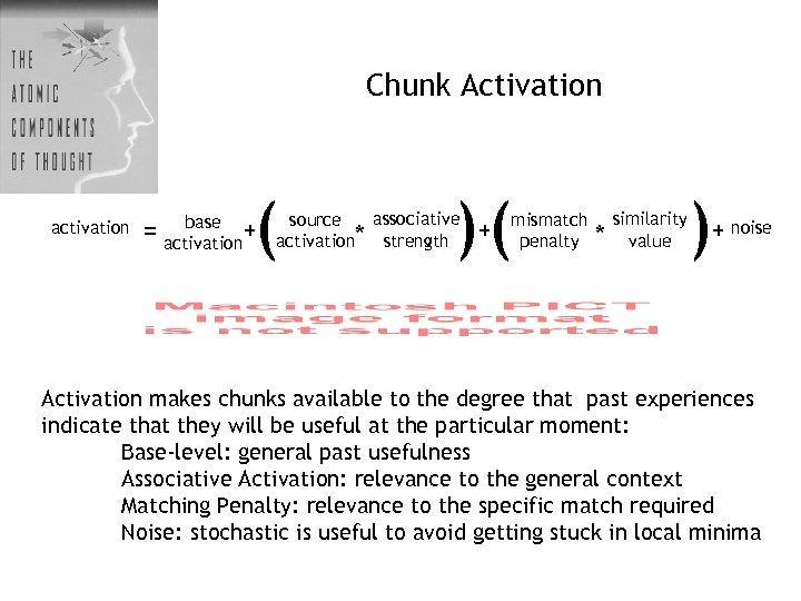 Chunk Activation activation ( base = activation+ )( associative source activation* strength + mismatch