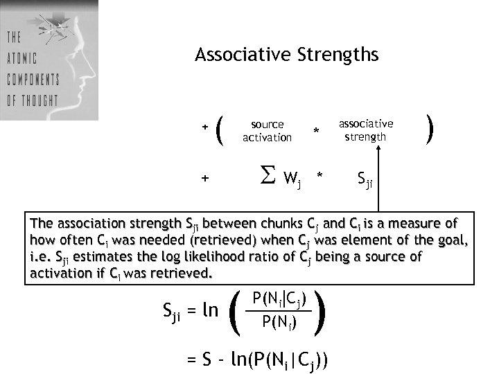 Associative Strengths + ( * source activation W + j associative strength * )