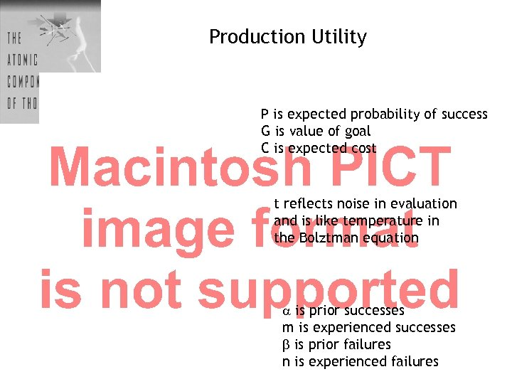 Production Utility P is expected probability of success G is value of goal C