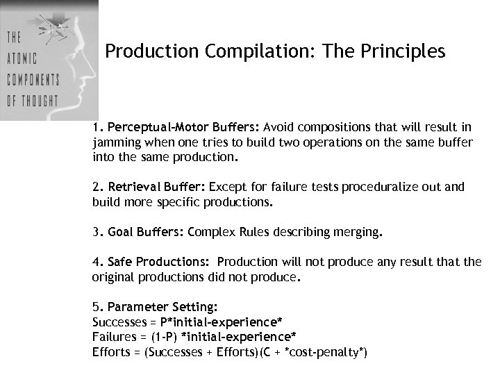 Production Compilation: The Principles 1. Perceptual-Motor Buffers: Avoid compositions that will result in jamming