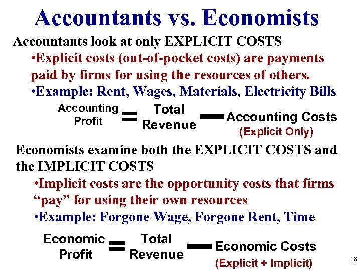 Accountants vs. Economists Accountants look at only EXPLICIT COSTS • Explicit costs (out-of-pocket costs)