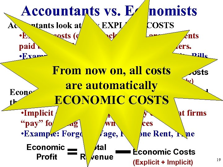 Accountants vs. Economists Accountants look at only EXPLICIT COSTS • Explicit costs (out of