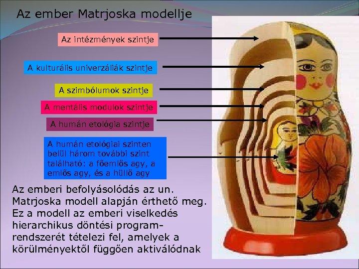 Az ember Matrjoska modellje Az intézmények szintje A kulturális univerzáliák szintje A szimbólumok szintje