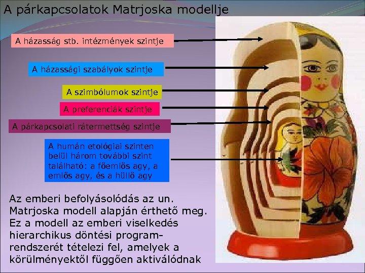 A párkapcsolatok Matrjoska modellje A házasság stb. intézmények szintje A házassági szabályok szintje A