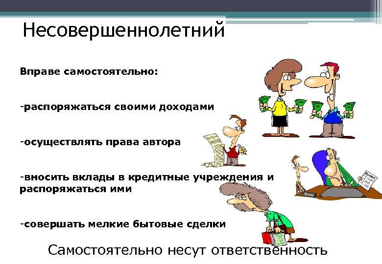 Несовершеннолетний Вправе самостоятельно: -распоряжаться своими доходами -осуществлять права автора -вносить вклады в кредитные учреждения
