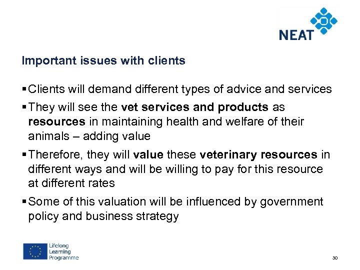 Important issues with clients § Clients will demand different types of advice and services