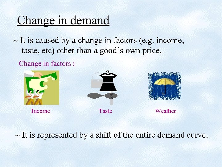 Change in demand ~ It is caused by a change in factors (e. g.