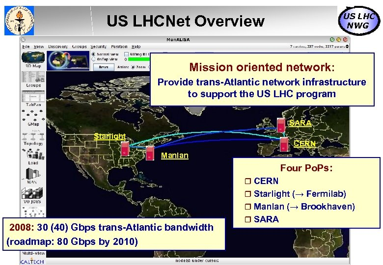 US LHC NWG US LHCNet Overview Mission oriented network: Provide trans-Atlantic network infrastructure to