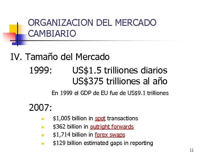 ORGANIZACION DEL MERCADO CAMBIARIO IV. Tamaño del Mercado 1999: US$1. 5 trilliones diarios US$375