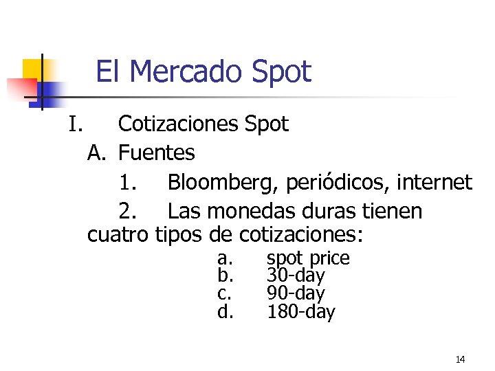 El Mercado Spot I. Cotizaciones Spot A. Fuentes 1. Bloomberg, periódicos, internet 2. Las