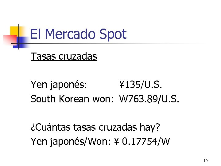 El Mercado Spot Tasas cruzadas Yen japonés: ¥ 135/U. S. South Korean won: W