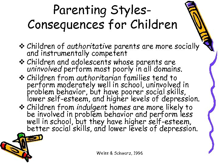 Parenting Styles. Consequences for Children v Children of authoritative parents are more socially and