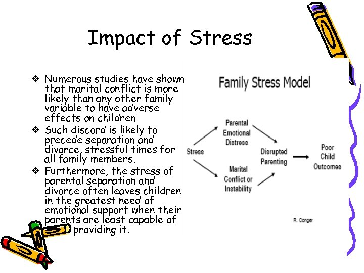 Impact of Stress v Numerous studies have shown that marital conflict is more likely