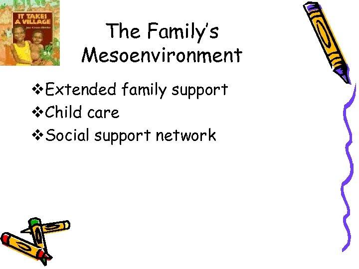 The Family's Mesoenvironment v. Extended family support v. Child care v. Social support network