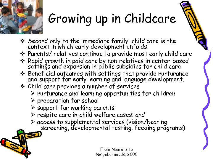 Growing up in Childcare v Second only to the immediate family, child care is