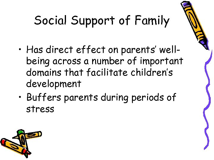 Social Support of Family • Has direct effect on parents' wellbeing across a number