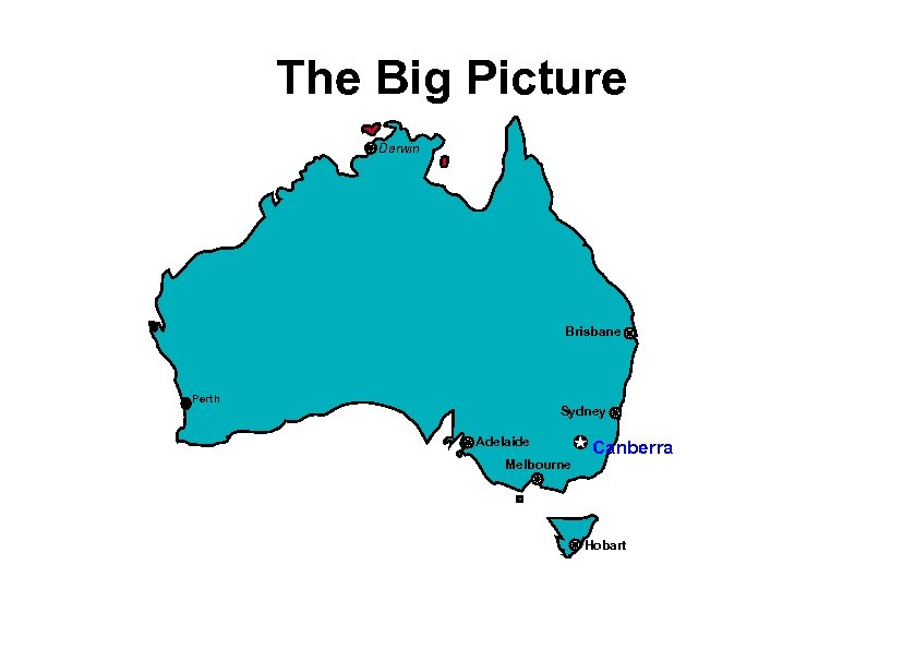 The Big Picture Darwin Brisbane Perth Sydney Adelaide Melbourne Canberra Hobart