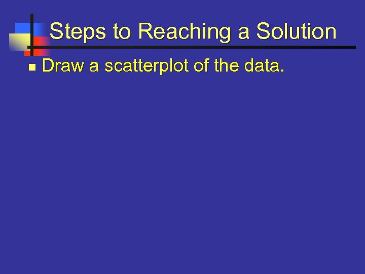 Steps to Reaching a Solution n Draw a scatterplot of the data.