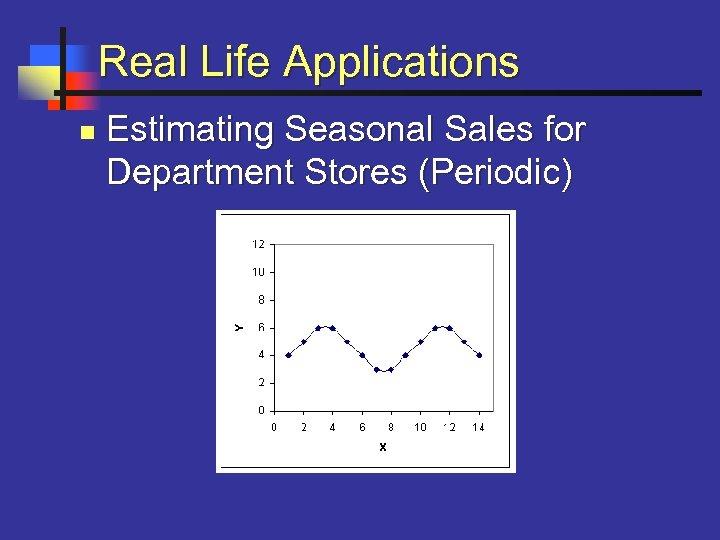 Real Life Applications n Estimating Seasonal Sales for Department Stores (Periodic)