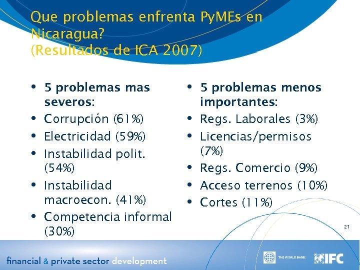 Que problemas enfrenta Py. MEs en Nicaragua? (Resultados de ICA 2007) 5 problemas severos: