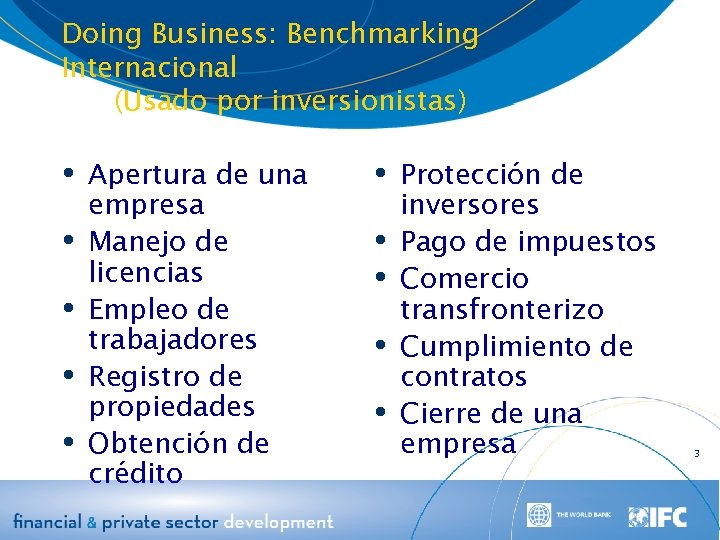 Doing Business: Benchmarking Internacional (Usado por inversionistas) Apertura de una Protección de empresa Manejo