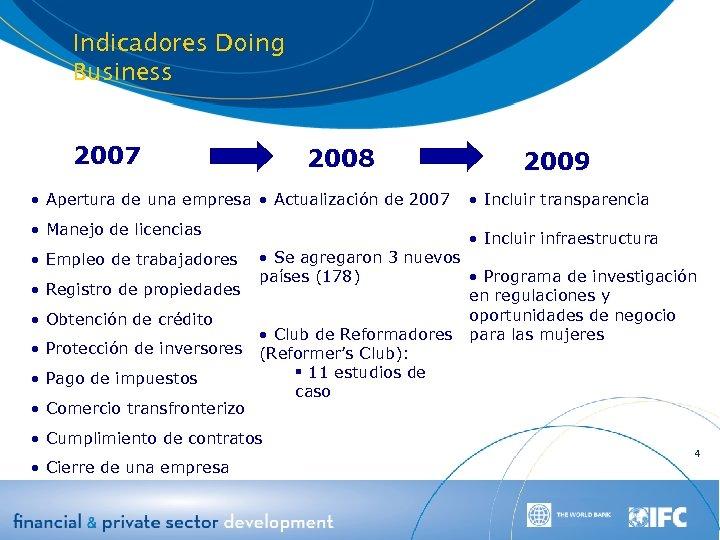 Indicadores Doing Business 2007 2008 • Apertura de una empresa • Actualización de 2007