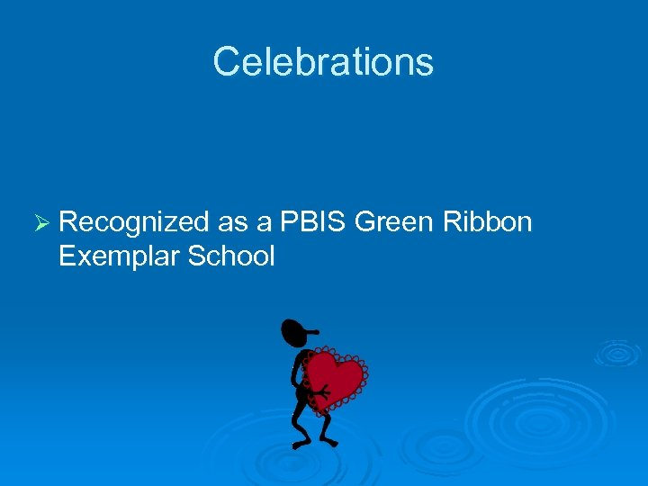 Celebrations Ø Recognized as a PBIS Green Ribbon Exemplar School
