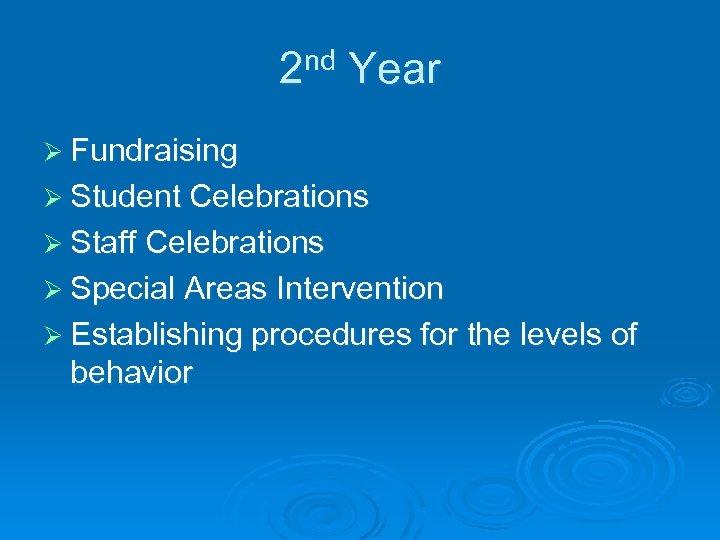 2 nd Year Ø Fundraising Ø Student Celebrations Ø Staff Celebrations Ø Special Areas