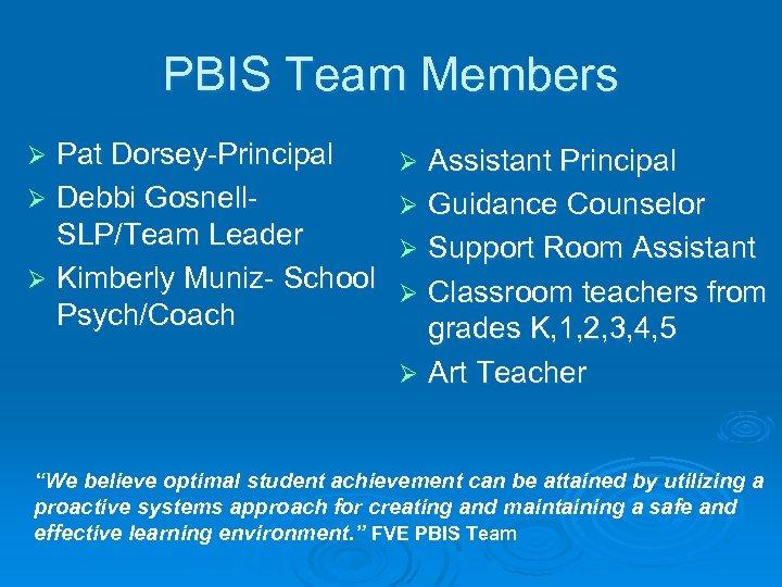 PBIS Team Members Pat Dorsey-Principal Ø Debbi Gosnell. SLP/Team Leader Ø Kimberly Muniz- School