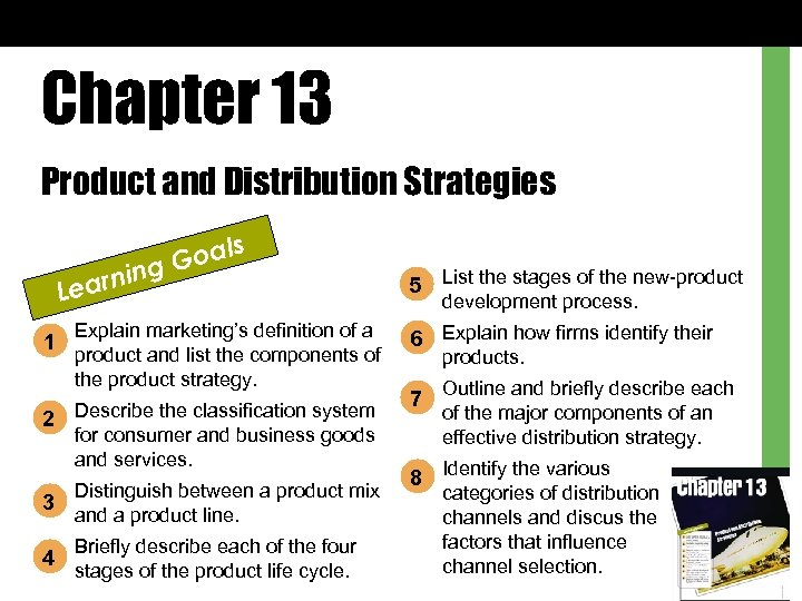 Chapter 13 Product and Distribution Strategies ls Goa ing n Lear 1 Explain marketing's