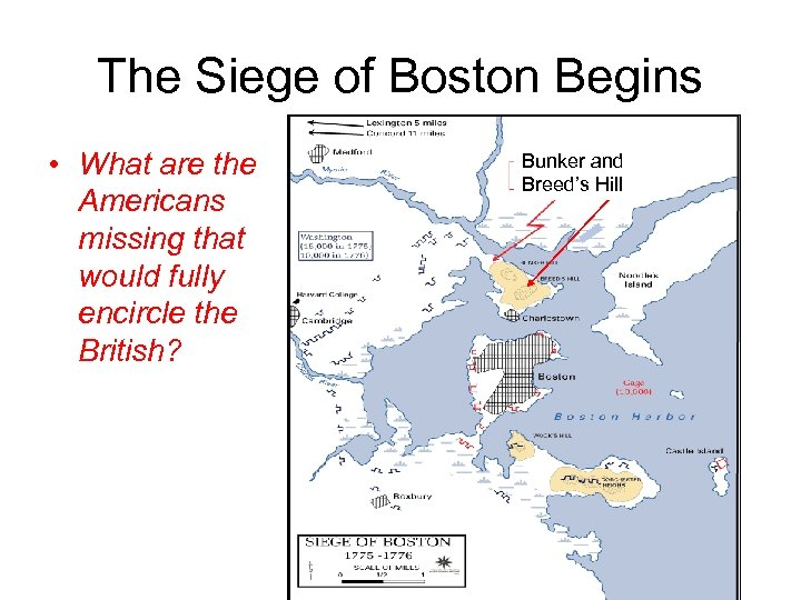 The Siege of Boston Begins • What are the Americans missing that would fully