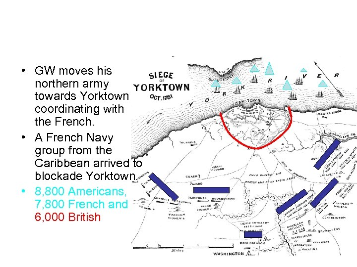 Yorktown, Set-up • GW moves his northern army towards Yorktown coordinating with the French.