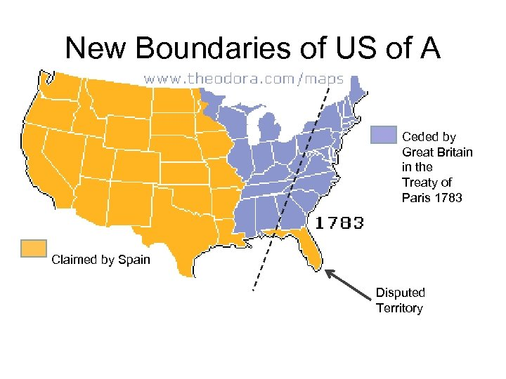 New Boundaries of US of A Ceded by Great Britain in the Treaty of
