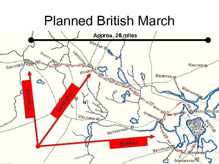 Planned British March gto n Le xin Concord Approx. 20 miles Boston