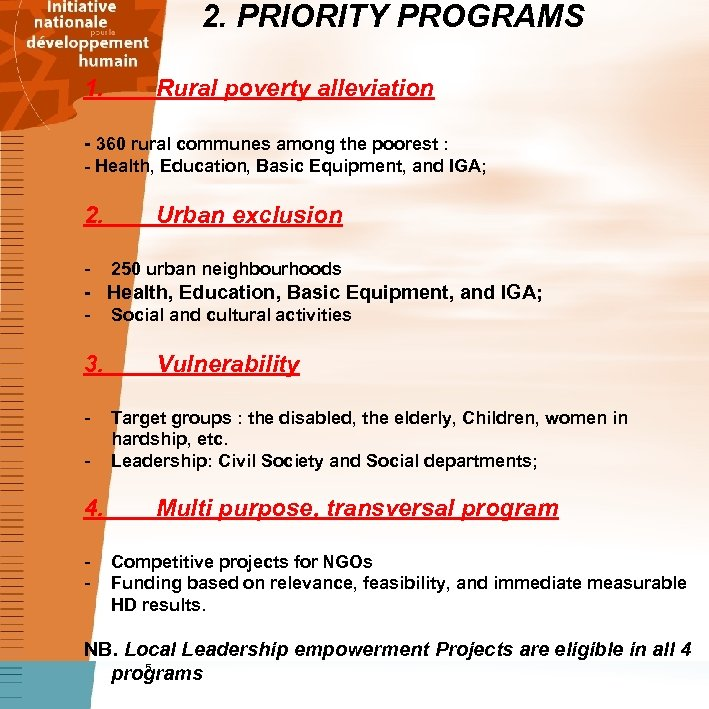 2. PRIORITY PROGRAMS 1. Rural poverty alleviation - 360 rural communes among the poorest