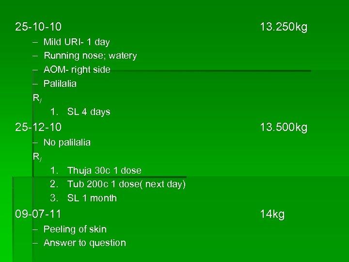 25 -10 -10 13. 250 kg – Mild URI- 1 day – Running nose;