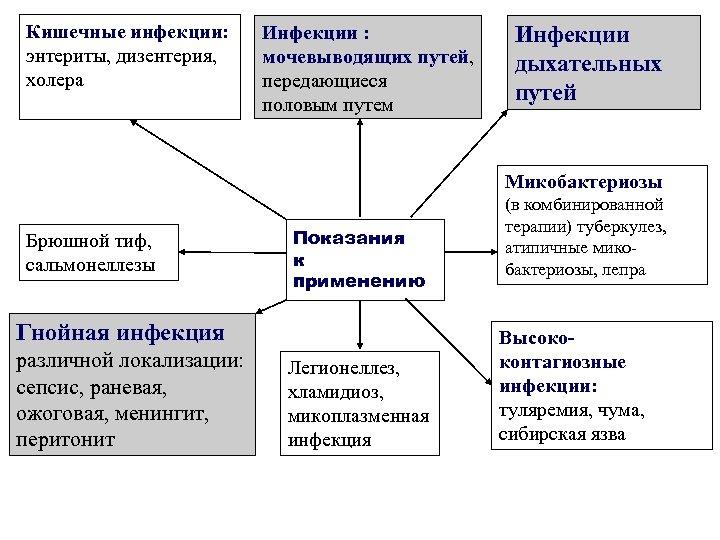 Кишечные инфекции: энтериты, дизентерия, холера Инфекции : мочевыводящих путей, передающиеся половым путем Инфекции дыхательных