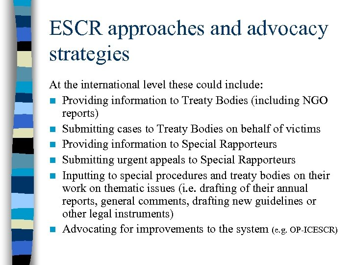 ESCR approaches and advocacy strategies At the international level these could include: n Providing