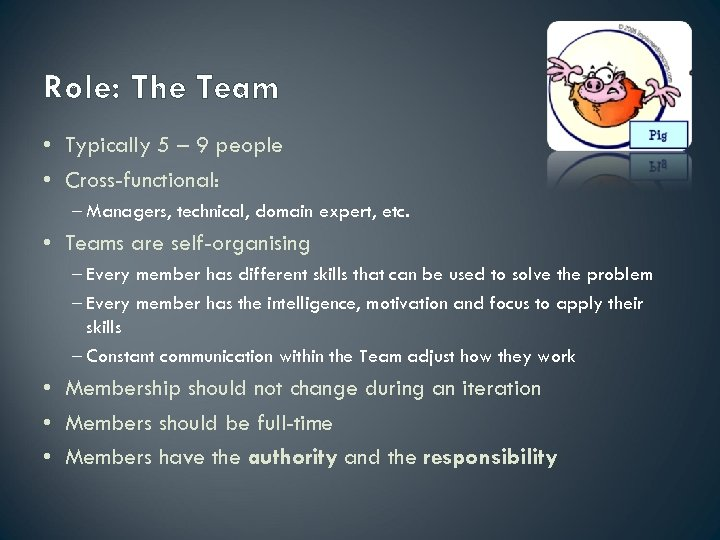 Role: The Team • Typically 5 – 9 people • Cross-functional: – Managers, technical,