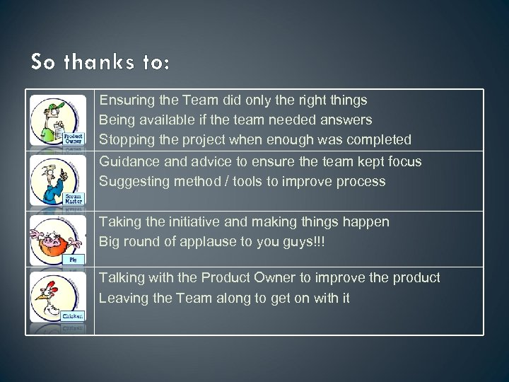 So thanks to: Ensuring the Team did only the right things Being available if
