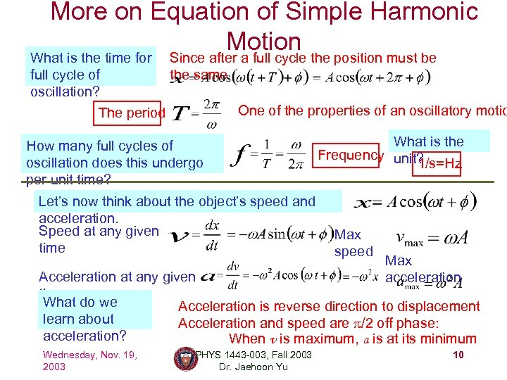 More on Equation of Simple Harmonic Motion What is the time for full cycle