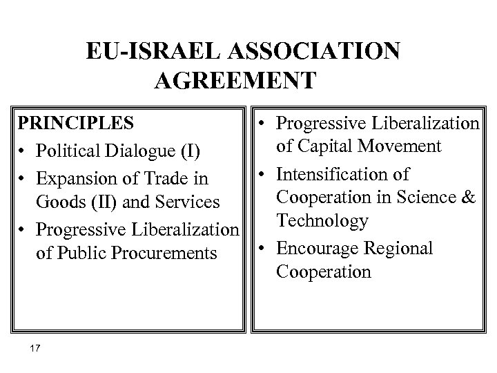 EU-ISRAEL ASSOCIATION AGREEMENT PRINCIPLES • Progressive Liberalization of Capital Movement • Political Dialogue
