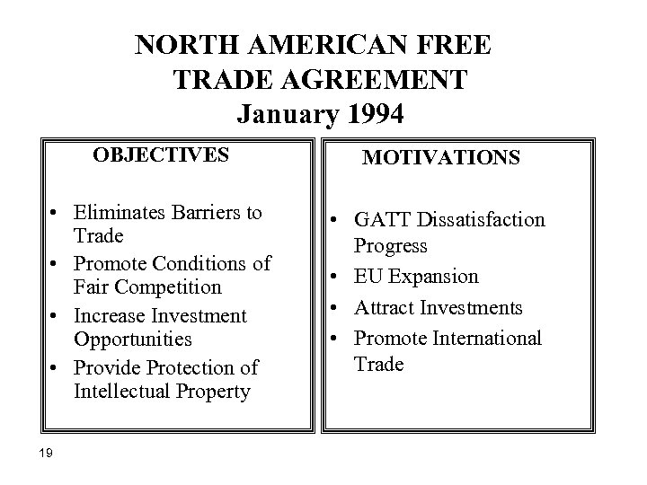 NORTH AMERICAN FREE TRADE AGREEMENT January 1994 OBJECTIVES MOTIVATIONS • Eliminates Barriers to