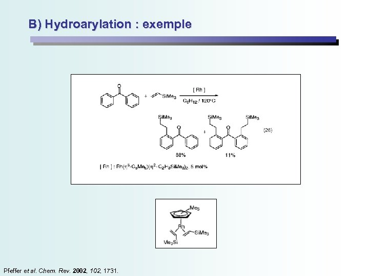 B) Hydroarylation : exemple Pfeffer et al. Chem. Rev. 2002, 1731.
