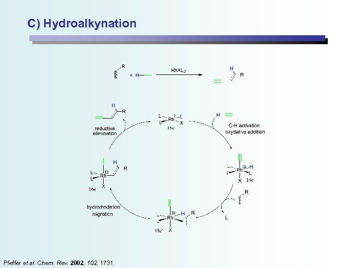 C) Hydroalkynation Pfeffer et al. Chem. Rev. 2002, 1731.