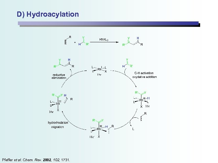D) Hydroacylation Pfeffer et al. Chem. Rev. 2002, 1731.